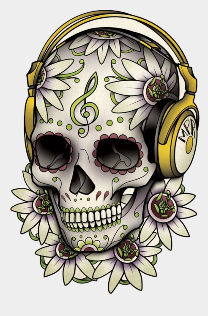 skeleton head clipart, Cartoons - Tattoo Skull Calavera Dead Drawing Of The - Caveira Mexicana Com Fone