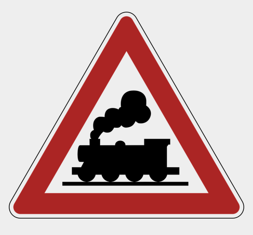 railroad tracks clipart, Cartoons - Warning, Railway Crossing, Road Sign - Silhouette Of A Steam Train