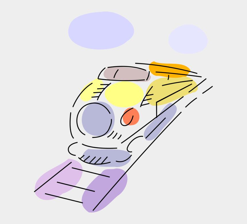 railroad tracks clipart, Cartoons - Vector Illustration Of Railroad Rail Transport Speeding - Cartoon