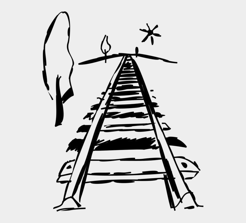 railroad tracks clipart, Cartoons - Vector Illustration Of Railroad Rail Transport Locomotive - Schiene Clipart Png