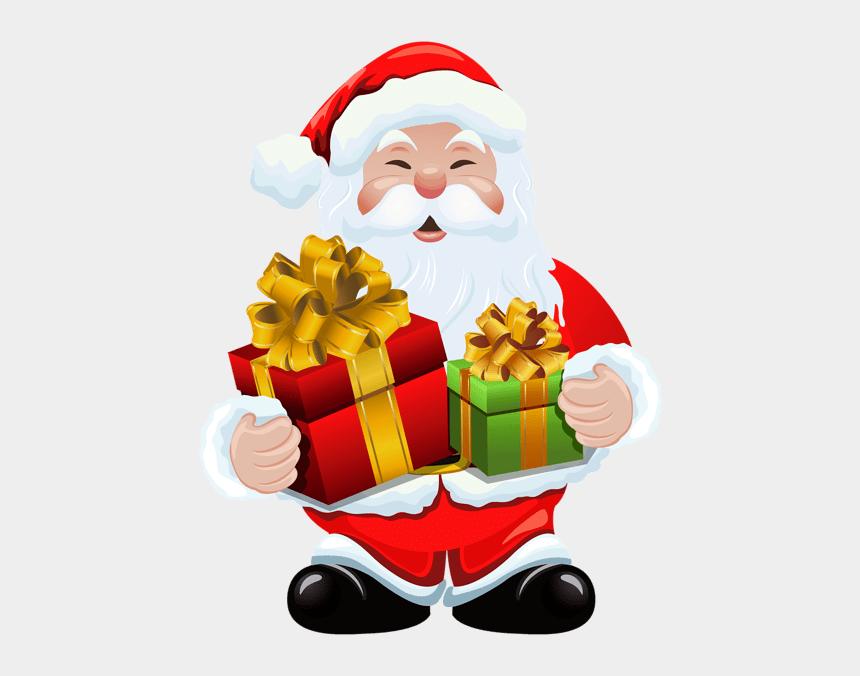santa claus face clipart, Cartoons - Snata Claus With Gift Clipart - Santa Transparent Christmas Clipart