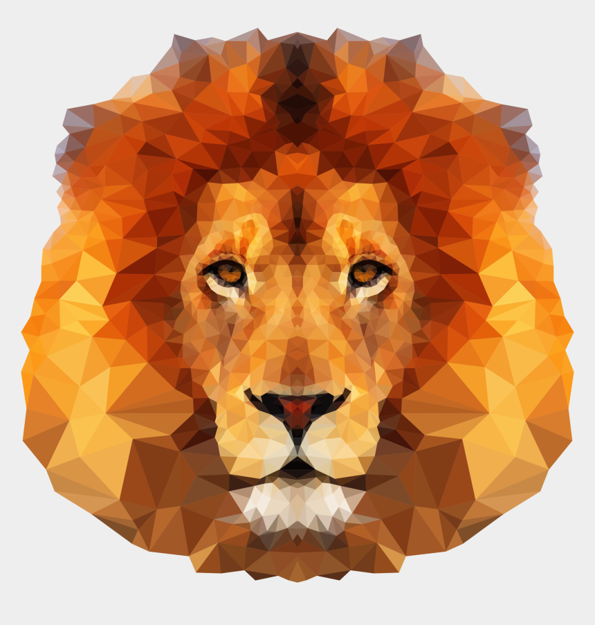 lion face clipart black and white, Cartoons - Low Poly Lion Face Icons Png - Low Poly Lion Face