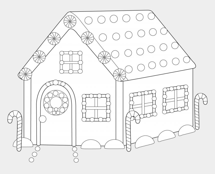 clipart maison, Cartoons - Pin Clipart Maison Gratuit - Ginger Bread House Colouring Draft