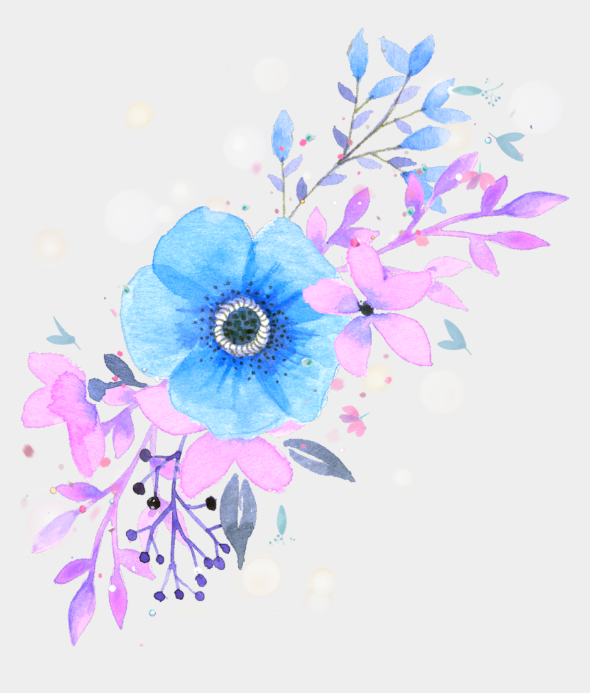 watercolor floral clipart, Cartoons - #ftestickers #watercolor #flowers #floralswag #blue - Pink And Blue Watercolor Flower