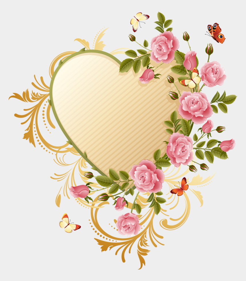 free clipart of flowers and butterflies, Cartoons - Butterfly Heart Flower Rose Pink Border - Beautiful Rose And Butterfly