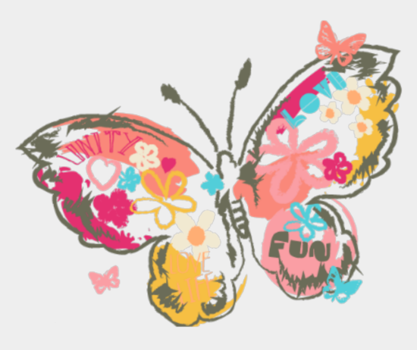 clipart flowers and butterflies, Cartoons - #ftestickers #clipart #butterfly #flowers #pink #colorful - Clip Art