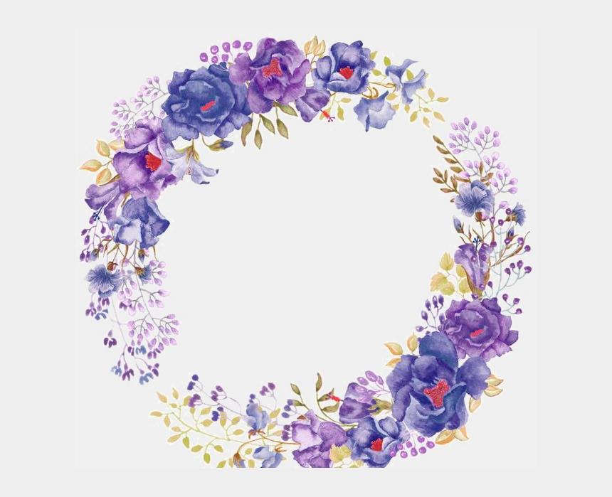 flower wreath clipart, Cartoons - Flowers Png Transparent - Transparent Purple Watercolor Flowers
