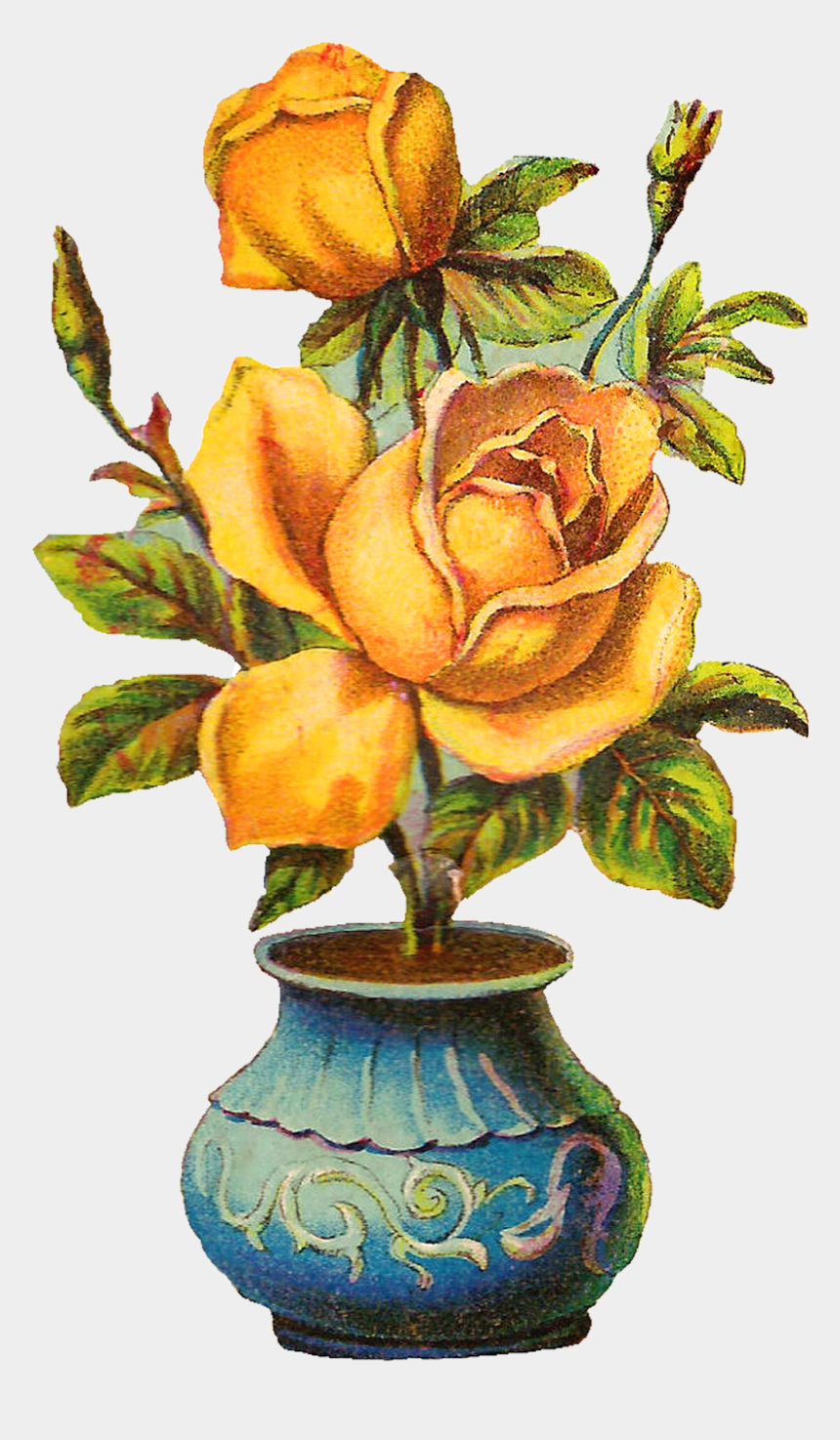yellow rose clipart, Cartoons - Yellow Roses Are My Favorite Flower I Created This - Rose Flower Pot Design