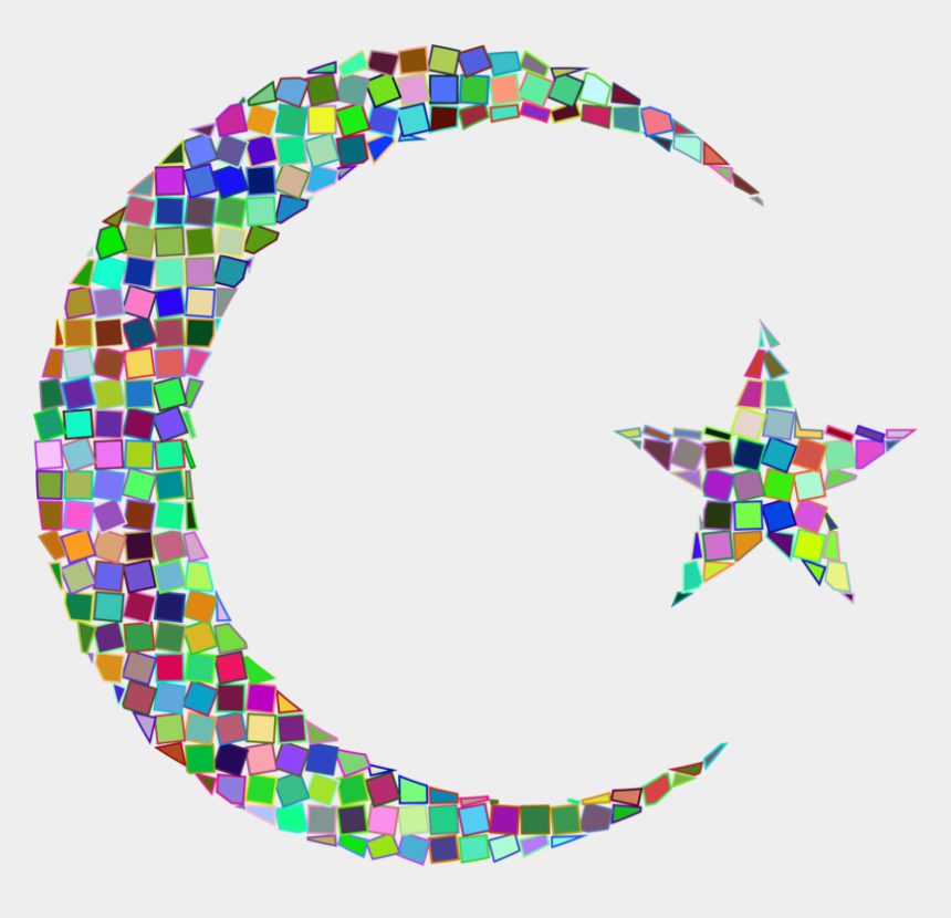 moon and stars clipart, Cartoons - Star And Crescent Moon Circle - Moon And Star Mosaic Art