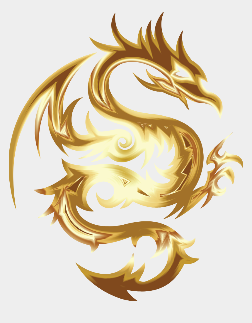 dragon fruit clipart, Cartoons - Free Clipart Of A Goldon Dragon In Tribal Style - Gold Dragon Logo Png