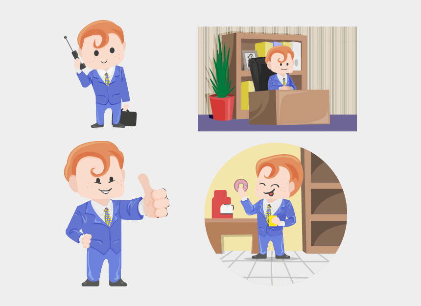 talking on the phone clipart, Cartoons - Redhead Businessman Vector Character In 4 Different - Cartoon