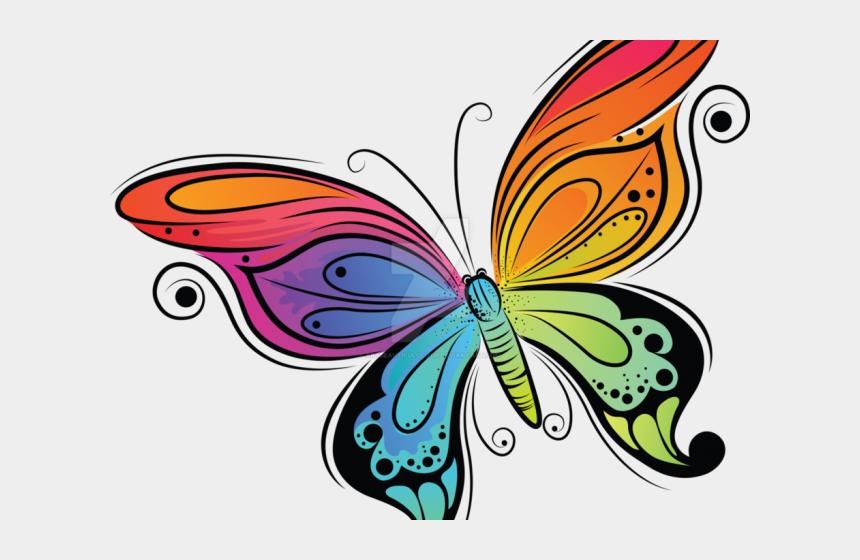 cute butterfly clipart, Cartoons - Rainbow Butterfly Clipart Cute - Color Drawings Of Butterflies