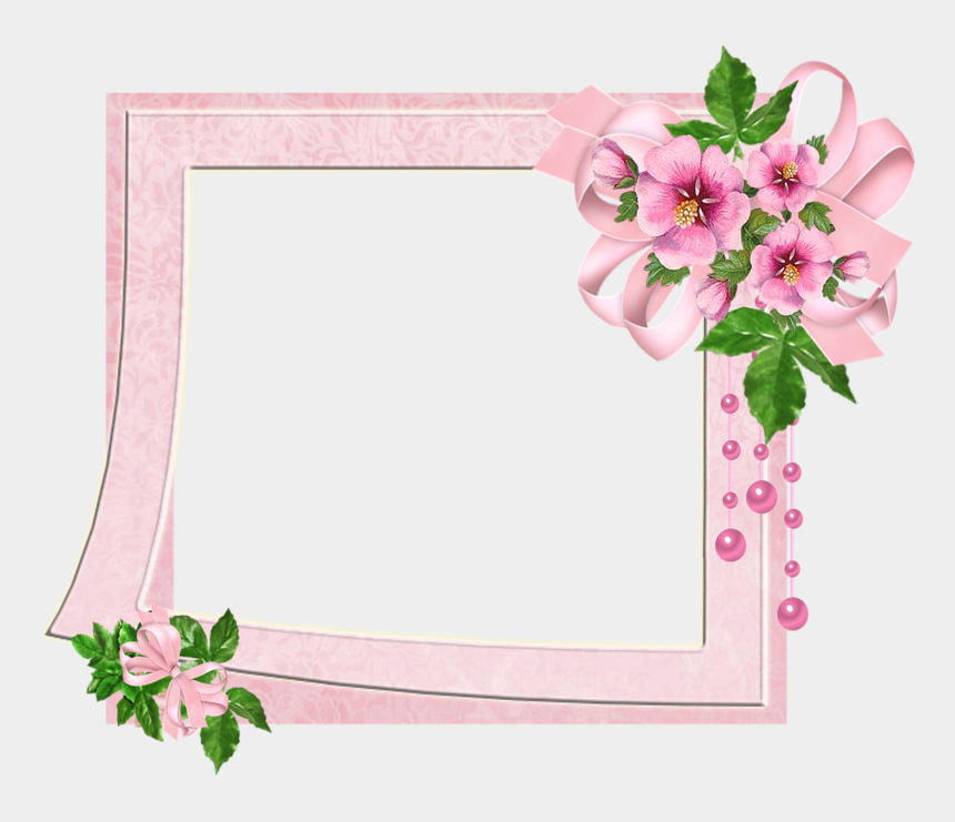 cute flower clipart, Cartoons - Cute Pink Transparent Photo Frame With Flowers - Pink Flower Frames And Borders