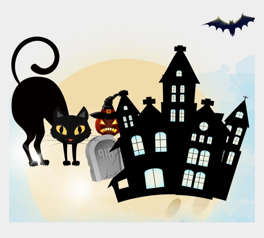 halloween cat clipart, Cartoons - Haunted Clipart Halloween Cat - Desenhos De Casa De Bruxas