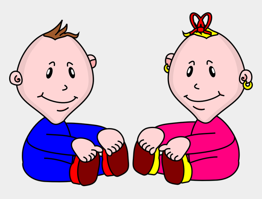 clipart of boy and girl, Cartoons - Vis À Vis Babies Boy Girl Infants Kids Facing - Boy And Girl Baby Png