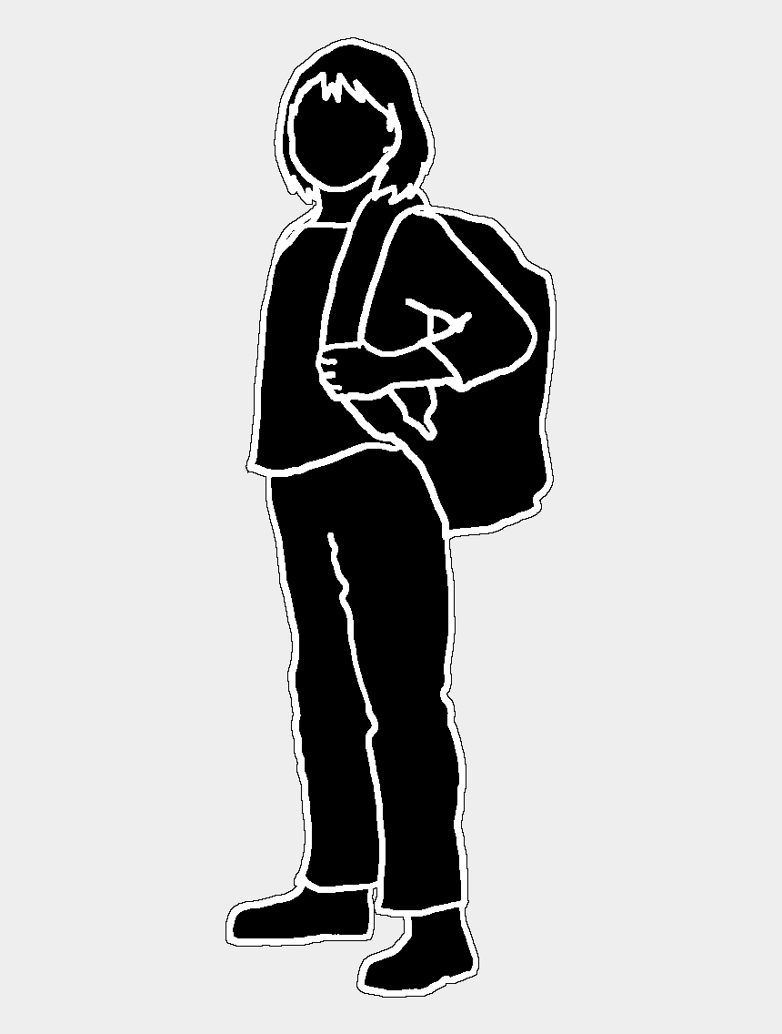 boy and girl clipart black and white, Cartoons - Black Stroke Silhouette School Girl, Black White Silhouette - School Girl Silhouette Png