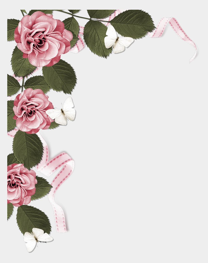rose border clipart, Cartoons - Rose Page Border - Dusty Pink Flower Borders
