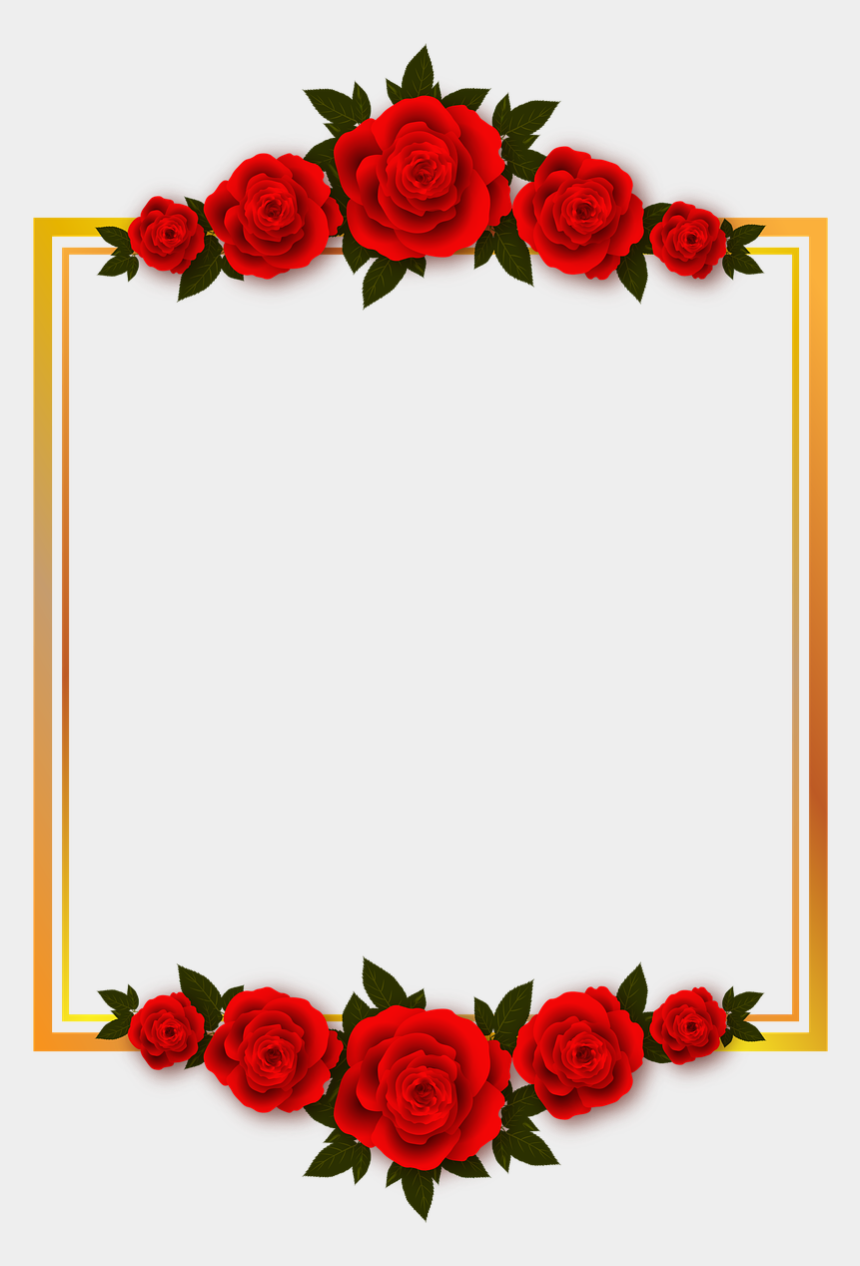 rose border clipart, Cartoons - Vacation, Rose, Flowers, Plate, Frame, Photo Frame - Red Rose Transparent Background