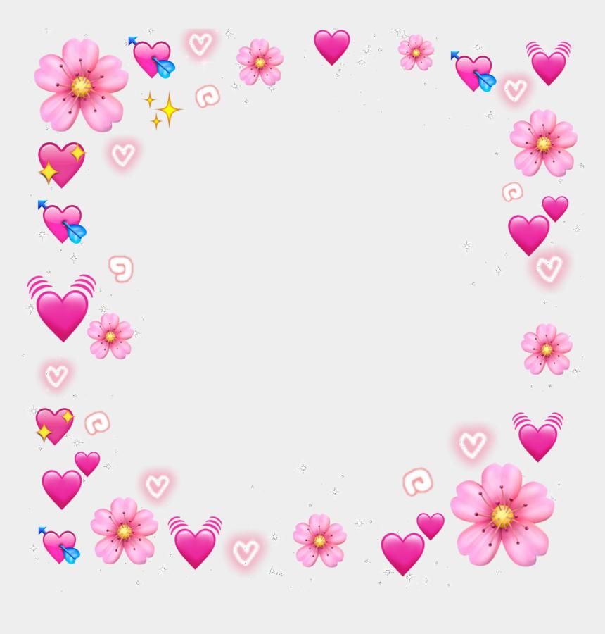 cute border clipart, Cartoons - #emojis #pink #cute #border #flower #emoji - Heart Emoji Meme Transparent
