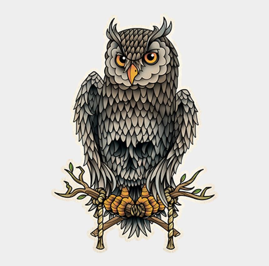 school owl clipart, Cartoons - Owl School Old Skull Tattoo Flash - Owl With Skull In Feathers