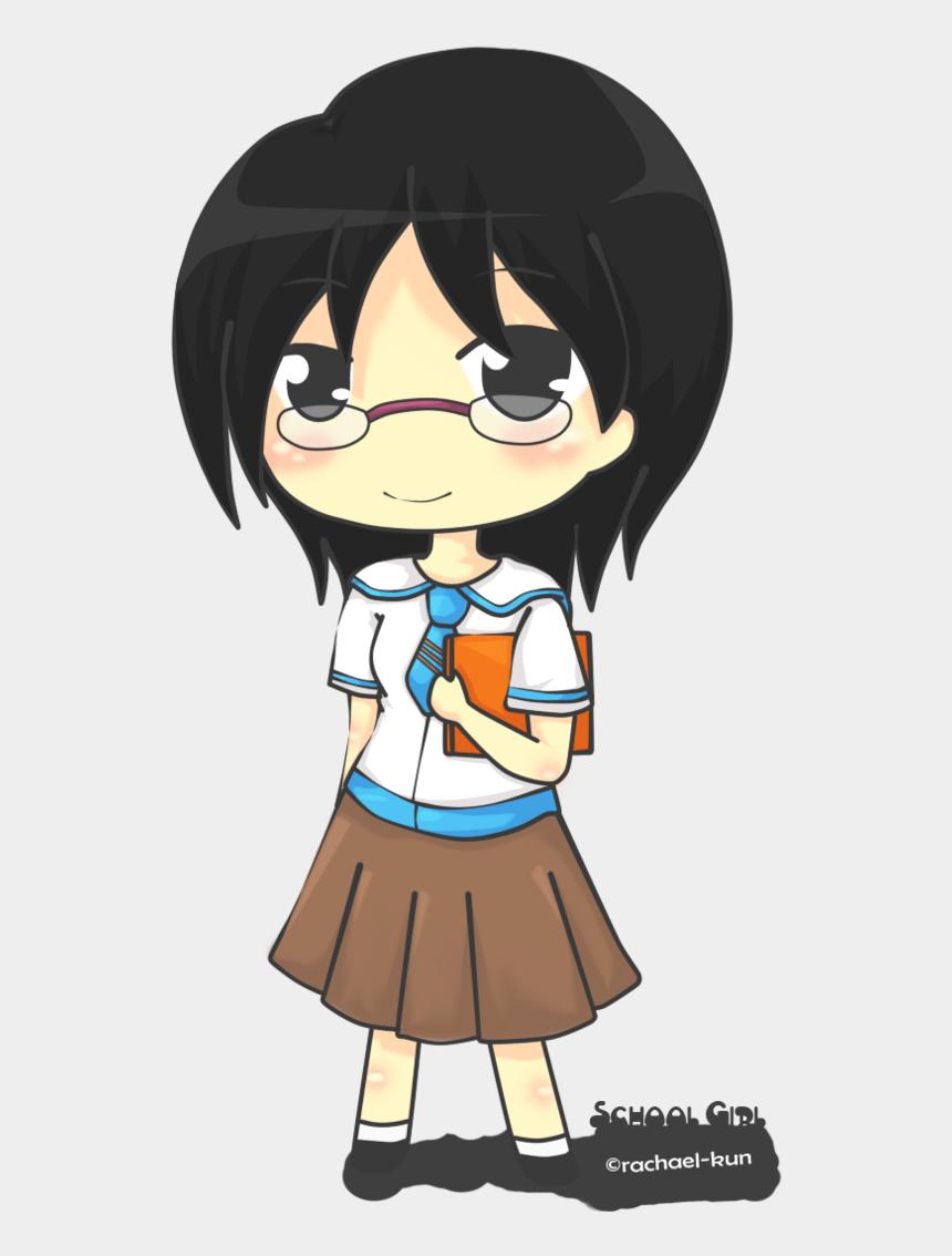 school girl clipart, Cartoons - Anime Boy Clipart School - Chibi School Girl