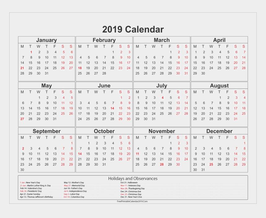 february calendar clipart, Cartoons - 2019 Calendar Png Image Hd - 2019 Calendar Australia Printable