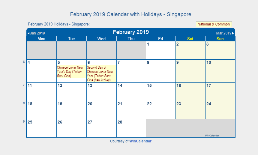 february calendar clipart, Cartoons - February 2019 Calendar Singapore With Holidays February - June 2019 Calendar With Holidays Australia