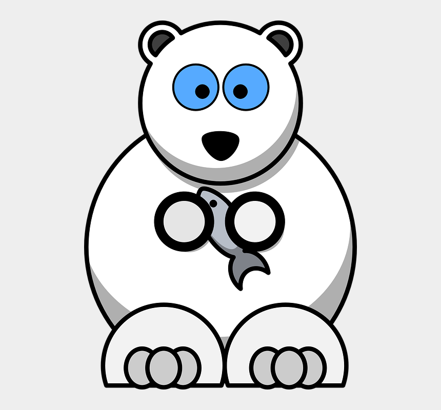 teddy bear clipart black and white, Cartoons - Polar Bear Bear Animals White Fish Cartoon Cute - Cartoon Polar Bear Autor