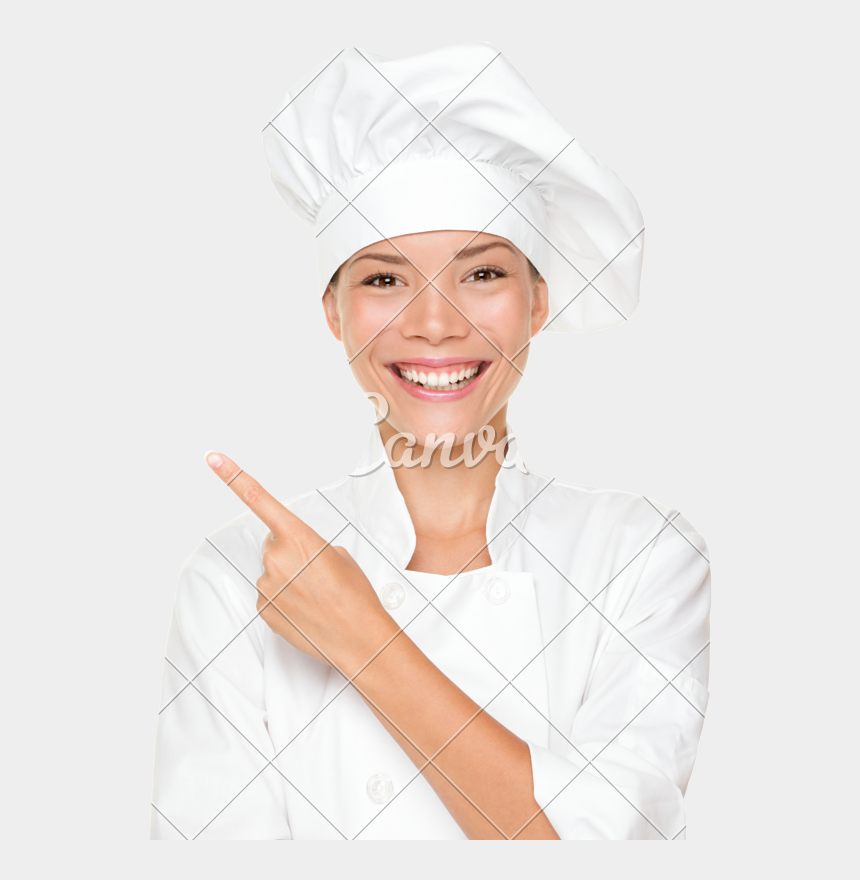 female chef clipart, Cartoons - Woman Chef Pointing - Stock Photography