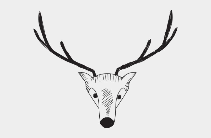 reindeer head clipart, Cartoons - Drawn Reindeer Head - Sketch