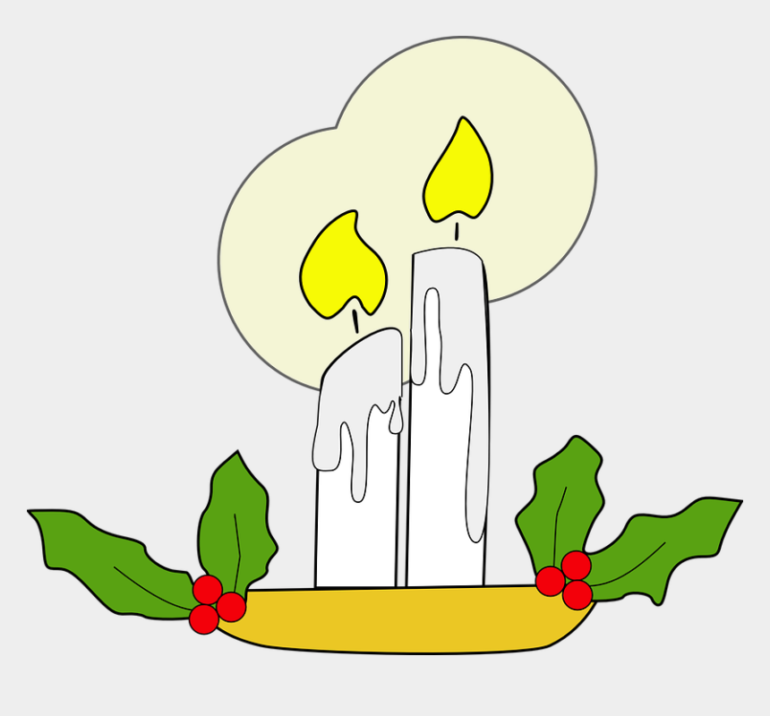 candle flame clipart, Cartoons - Candles Flame Holly Xmas Christmas Decoration - Glowing Candle Clipart