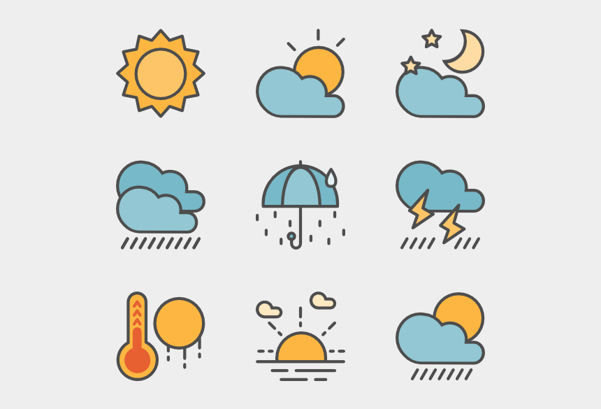 sunny weather clipart, Cartoons - Weather Clipart Weather Condition - Weather Forecast Icons Png
