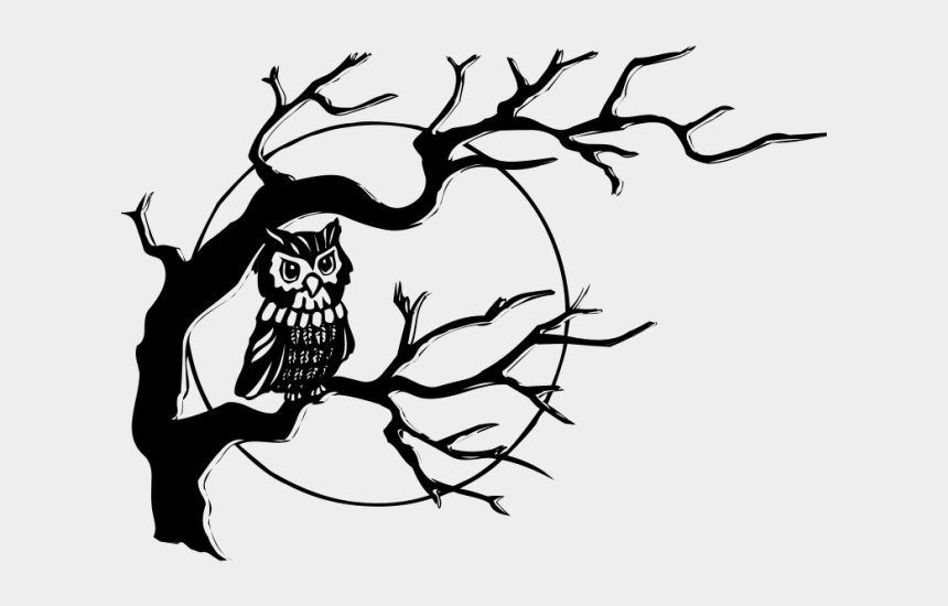 barn clipart black and white, Cartoons - Barn Owl Clipart Black And White - Simple Tree Branch Drawing