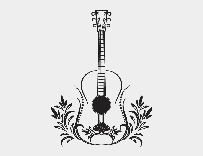 guitar clipart black and white, Cartoons - Vinilos Decorativos Guitarra Tribal Shrek Pinterest - Tattoo Acoustic Guitar With Wings Angel