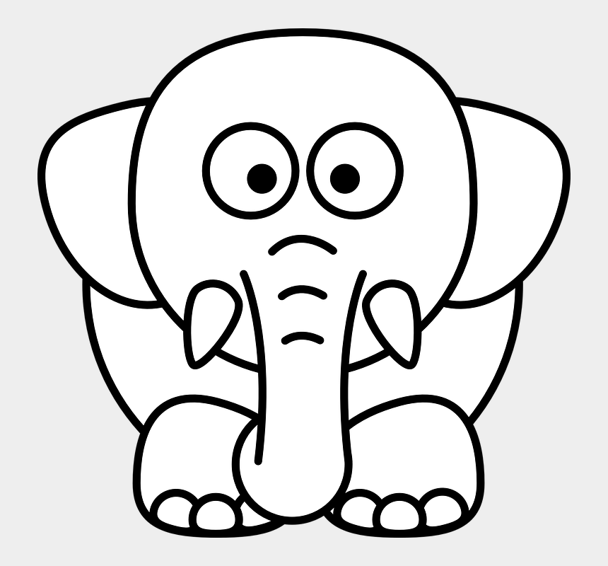 elephant clipart outline, Cartoons - How To Set Use Elephant Outline Svg Vector - Animals Head Black And White Clipart