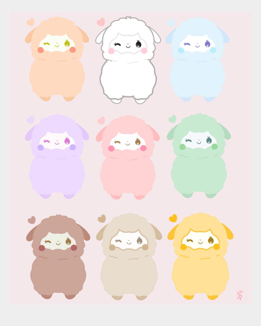kawaii clipart, Cartoons - Pastel Rainbow Alpaca Stickers Are Available Now On - Kawaii Llama Backgrounds