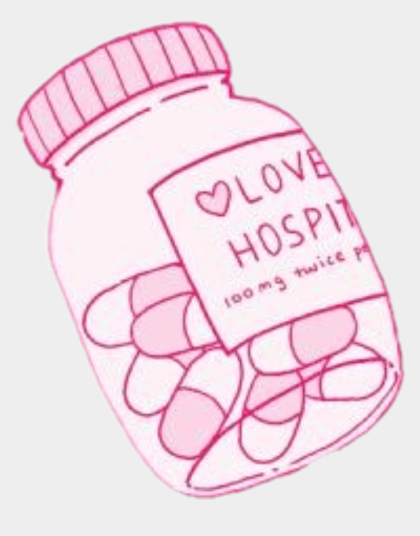 pill clipart, Cartoons - #love #lovehospital #pills #pink #aesthetic #tumblr - Aesthetic Pill Bottle Drawing
