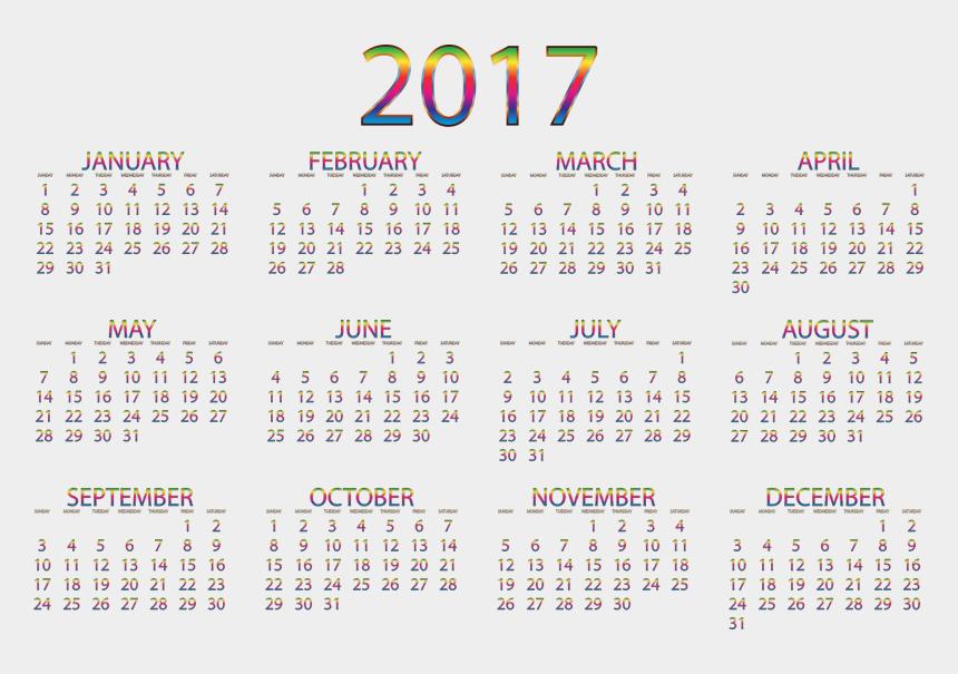 august clip art, Cartoons - 2017 Calendar Chromatic No Background Clipart Transparent - Printable Small Calendar 2019