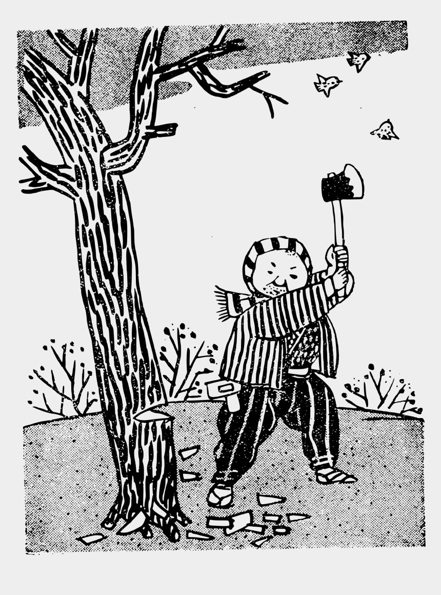 trees clip art, Cartoons - Big Image Cut Down Tree Clipart Blackand White - Cutting Plants Black And White