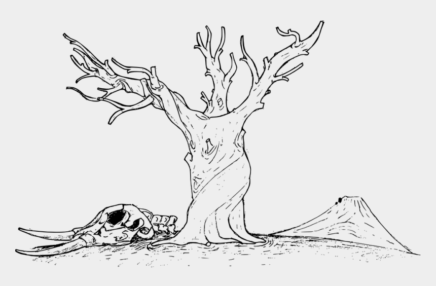 trees clip art, Cartoons - Plant Tree Nature Line Art Deluge Skull Sad - Nature Line Art Drawing
