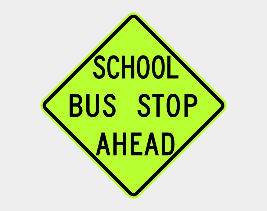 stop clip art, Cartoons - Free Vector School Bus Stop Ahead Sign Fluorescent - Traffic Sign