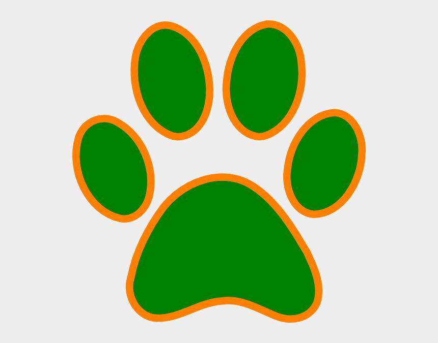 paw prints clip art, Cartoons - Green Paw Print Clip Art N22 - Green And Orange Paw Print