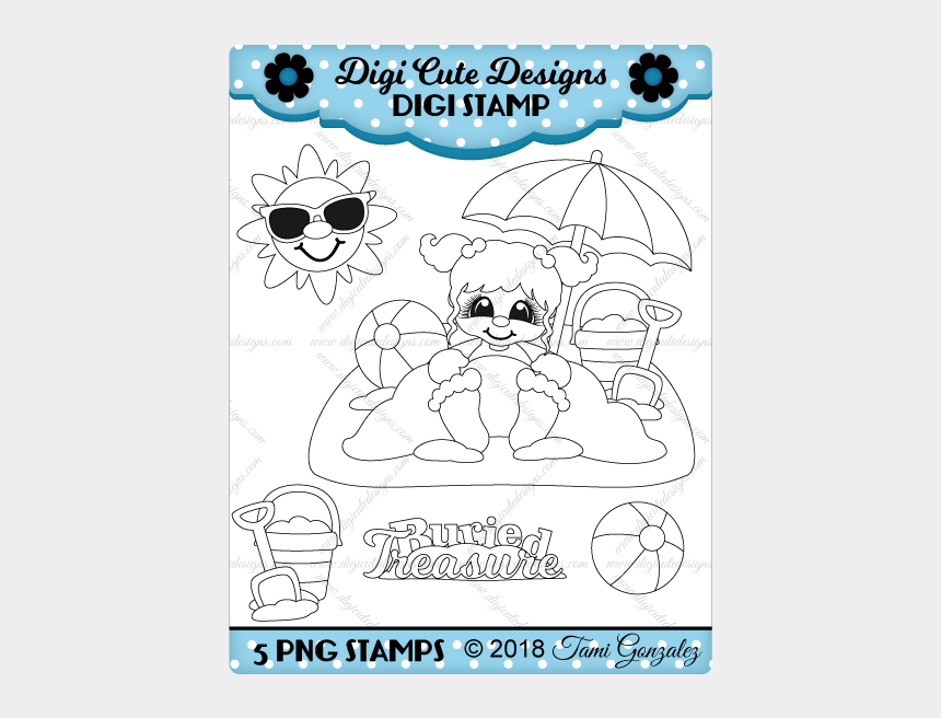 beach ball clip art, Cartoons - Buried Treasure Girl Digi Stamp-beach, Sand, Sun, Sunglasses, - Independence Day