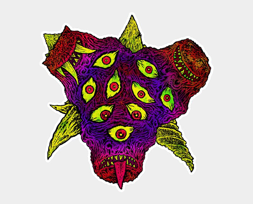 bubble gum machine clipart, Cartoons - Glorp Tri-head Terror Sticker - Illustration