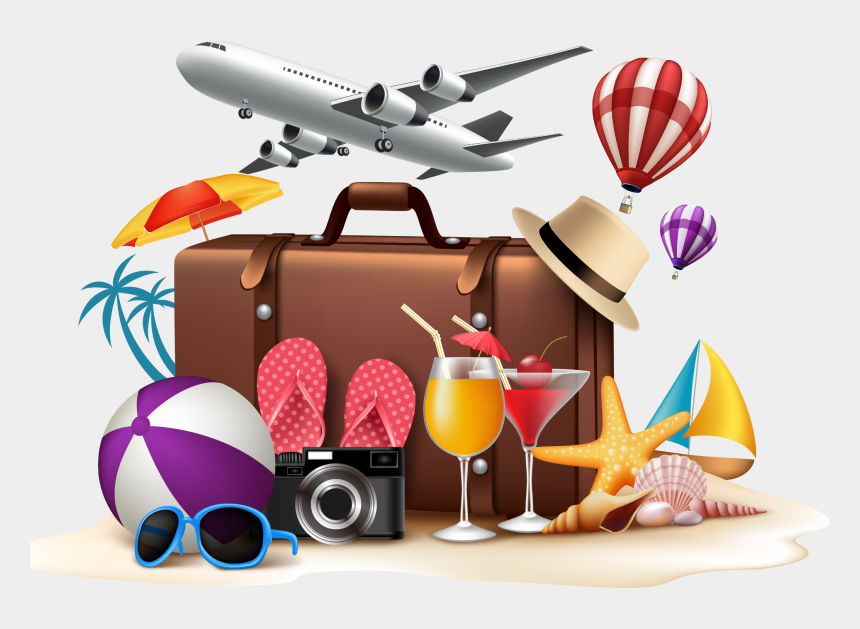 tourist clipart, Cartoons - Travel Summer Vacation Beach - Holiday Suitcases Clip Art