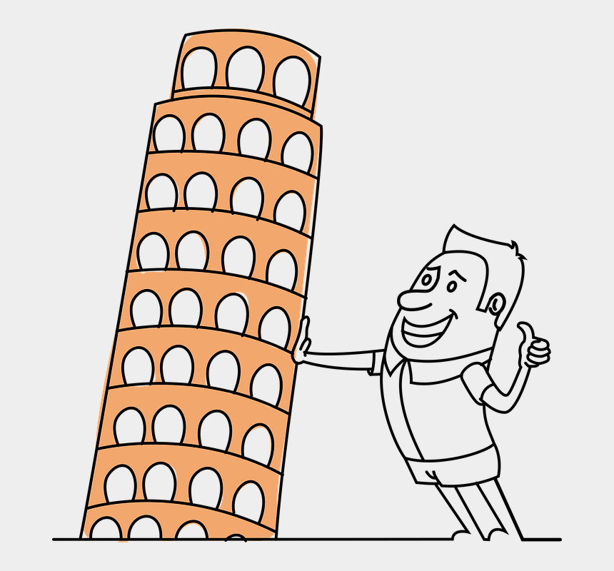 tourist clipart, Cartoons - Pisa Tower Tourist Picture Funny Architecture - Leaning Tower Of Pisa Clipart Tourist
