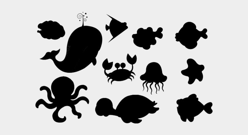 sea creatures clipart black and white, Cartoons - Sea Animals Collection Sketch Png - Sea Creatures Vector Png