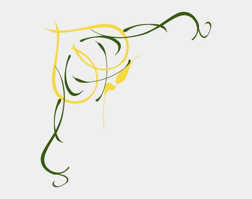 Gold And Green Love Birds Clip Art - Wedding Border Design
