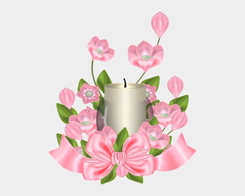 just married clipart, Cartoons - Flowers And Candle Light Pink Flowers, Holiday Candles, - Happy Birthday Lynn Flowers