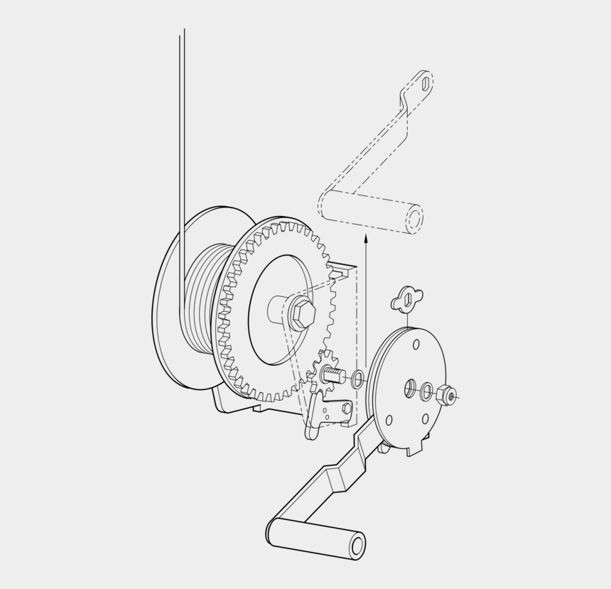 elevator clipart, Cartoons - Winch Hoist Pulley Crane Elevator - Technical Drawing Of A Mechanism